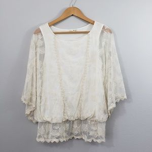 Artisan Crafted Dolman Sleeve Boho Lace Top L